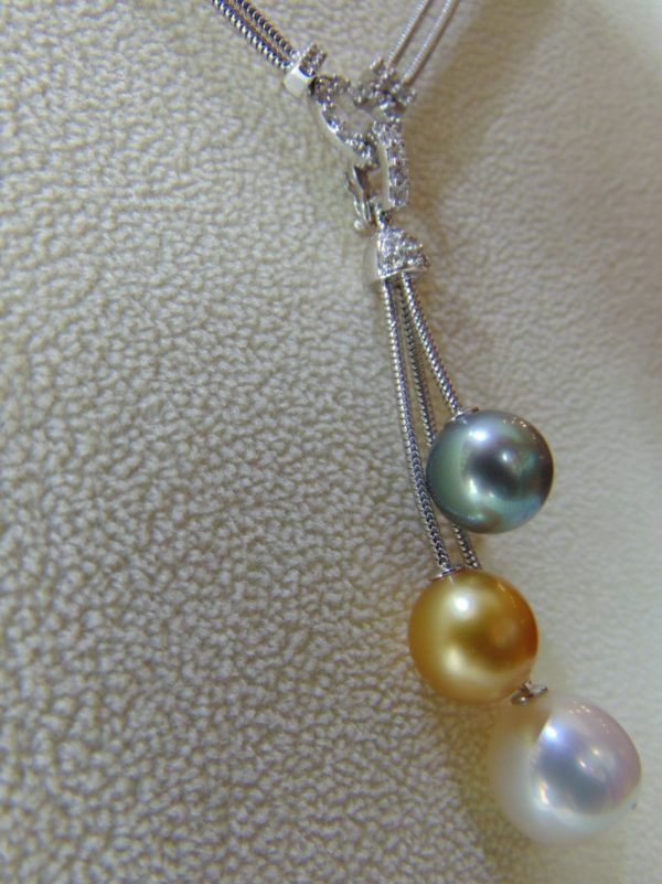 Southsea Tri-color Pearls in 18K White Gold